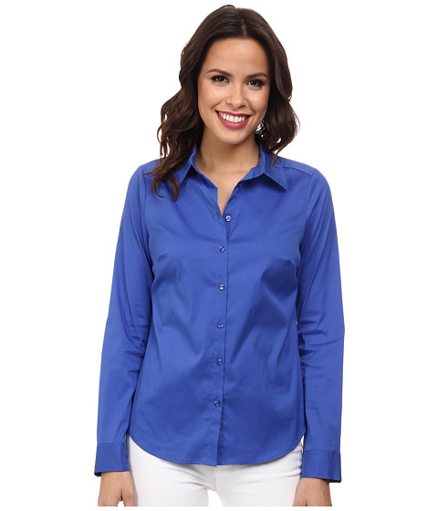 NYDJ - Fit Solution Button Front Shirt (Ultra Marine) Women's Long Sleeve Button Up