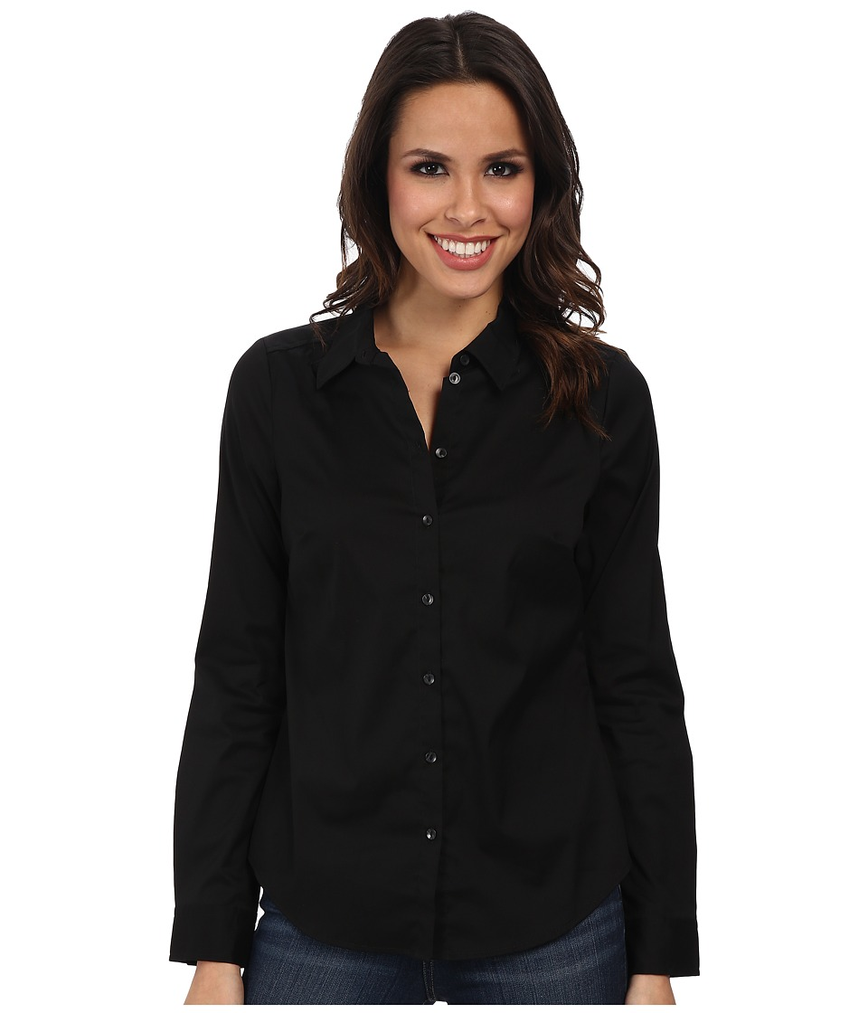 NYDJ - Fit Solution Button Front Shirt (Black) Women's Long Sleeve Button Up