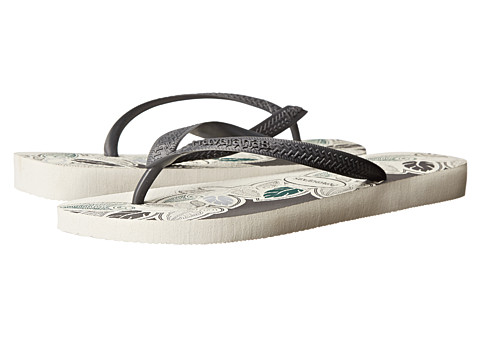 Havaianas - Aloha Flip Flops (White/Lead/Grey) Men's Sandals