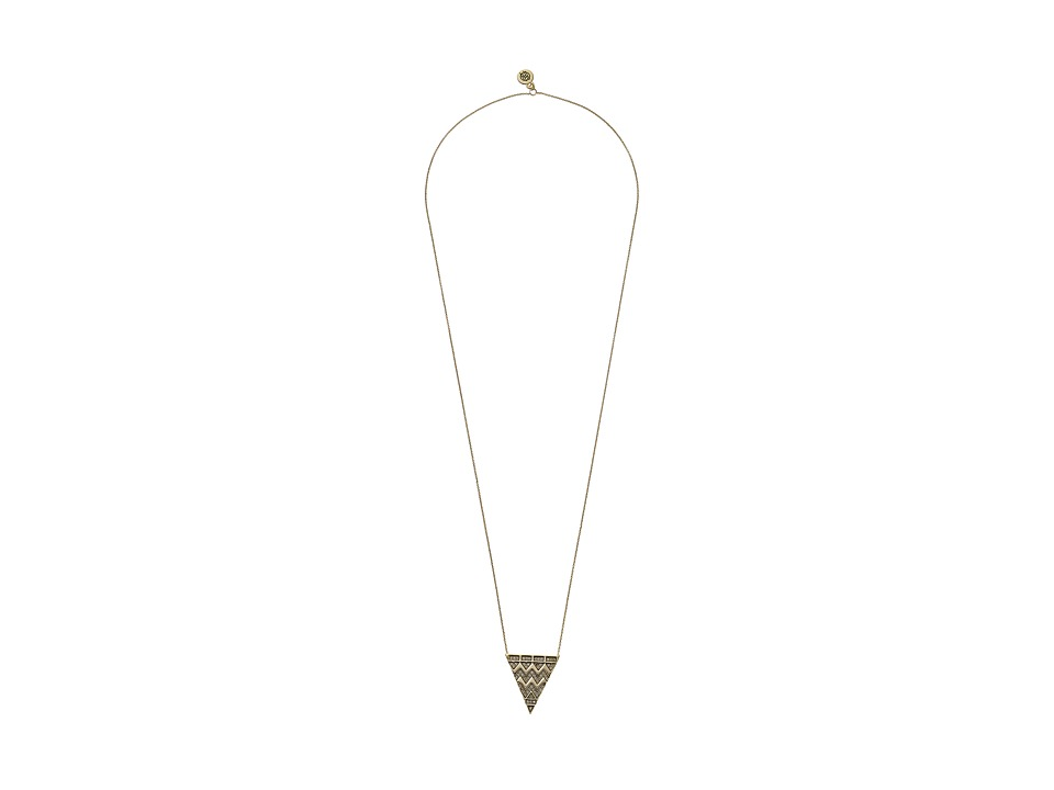 House of Harlow 1960 - Pave Tribal Triangle Pendant Necklace (Gold) Necklace
