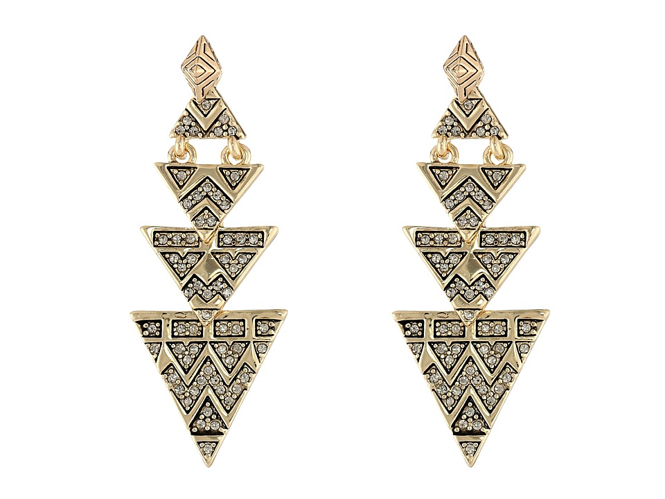 House of Harlow 1960 - Pave Tribal Triangle Earrings (Gold) Earring
