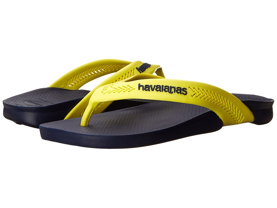Havaianas - Wide Flip Flops (Navy Blue/Yellow) Men's Sandals
