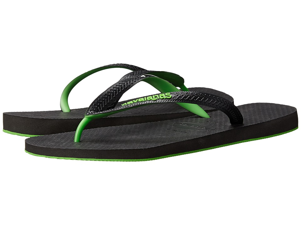 Havaianas - Top Tred Flip Flops (Black/Neon Green) Men's Sandals