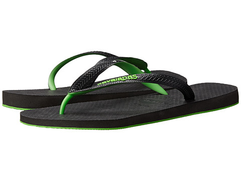 Havaianas - Top Tred Flip Flops (Black/Neon Green) Men