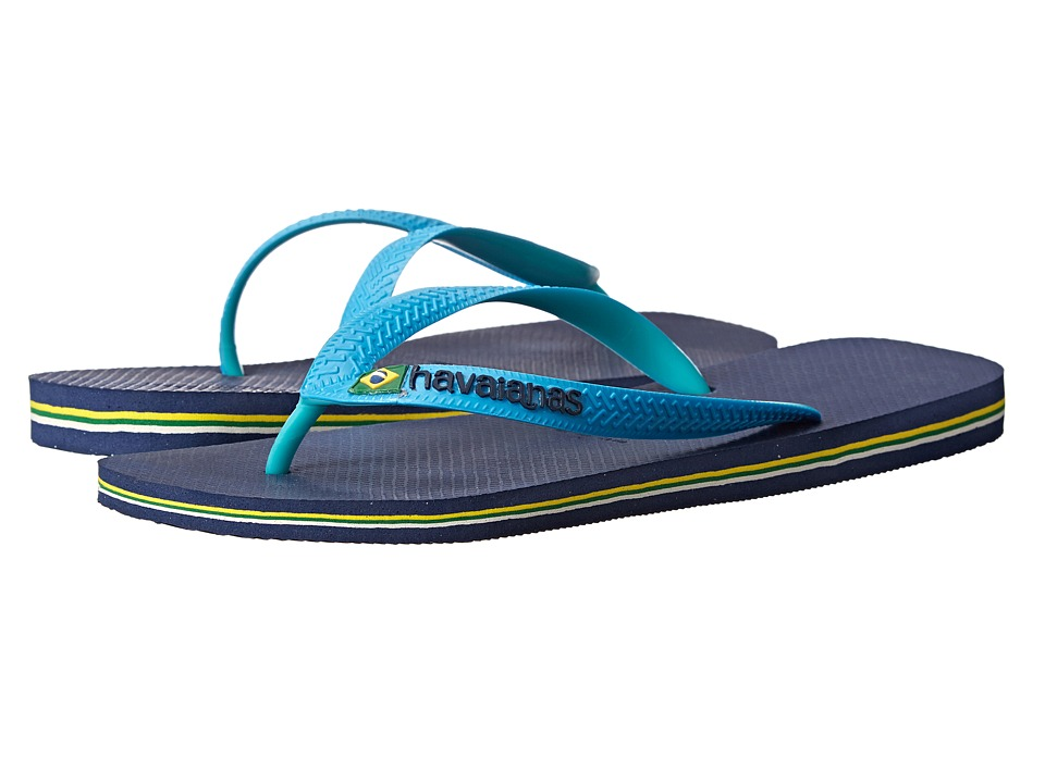 Havaianas - Brazil Mix Flip Flops (Navy Blue/Turquoise) Men's Sandals