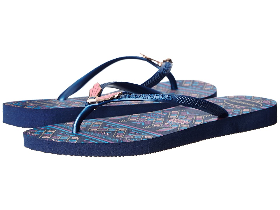 Havaianas - Slim Flower Flip Flops (Navy Blue) Women's Sandals