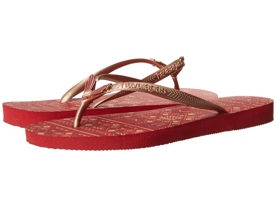 Havaianas - Slim Flower Flip Flops (Red) Women