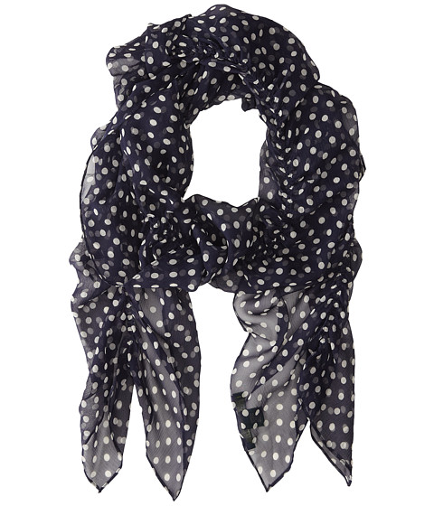 LAUREN by Ralph Lauren - Cecilia Silk Crinkle Chiffon Scarf (Spring Navy) Scarves