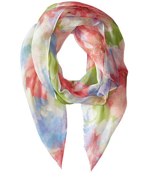 LAUREN by Ralph Lauren - Natalie Fringe Scarf (Blue/Pink Flowers) Scarves