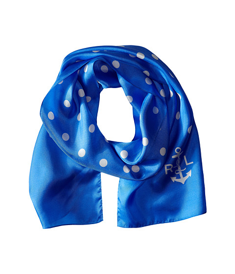 LAUREN by Ralph Lauren - Catalina Silk Twill Scarf (Blue) Scarves