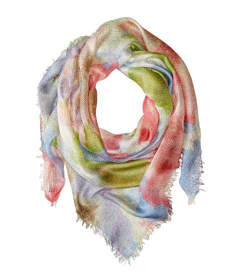 LAUREN by Ralph Lauren - Marta Fringe Scarf (Blue/Pink Flowers) Scarves