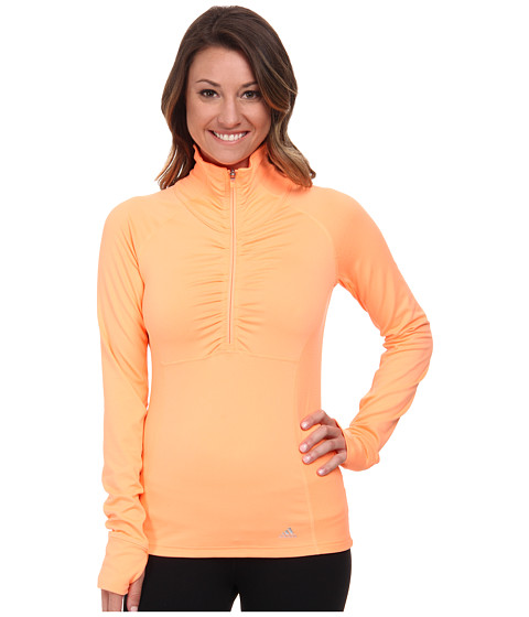 adidas Outdoor - Ultimate Half Zip (Flash Orange) Women's Workout