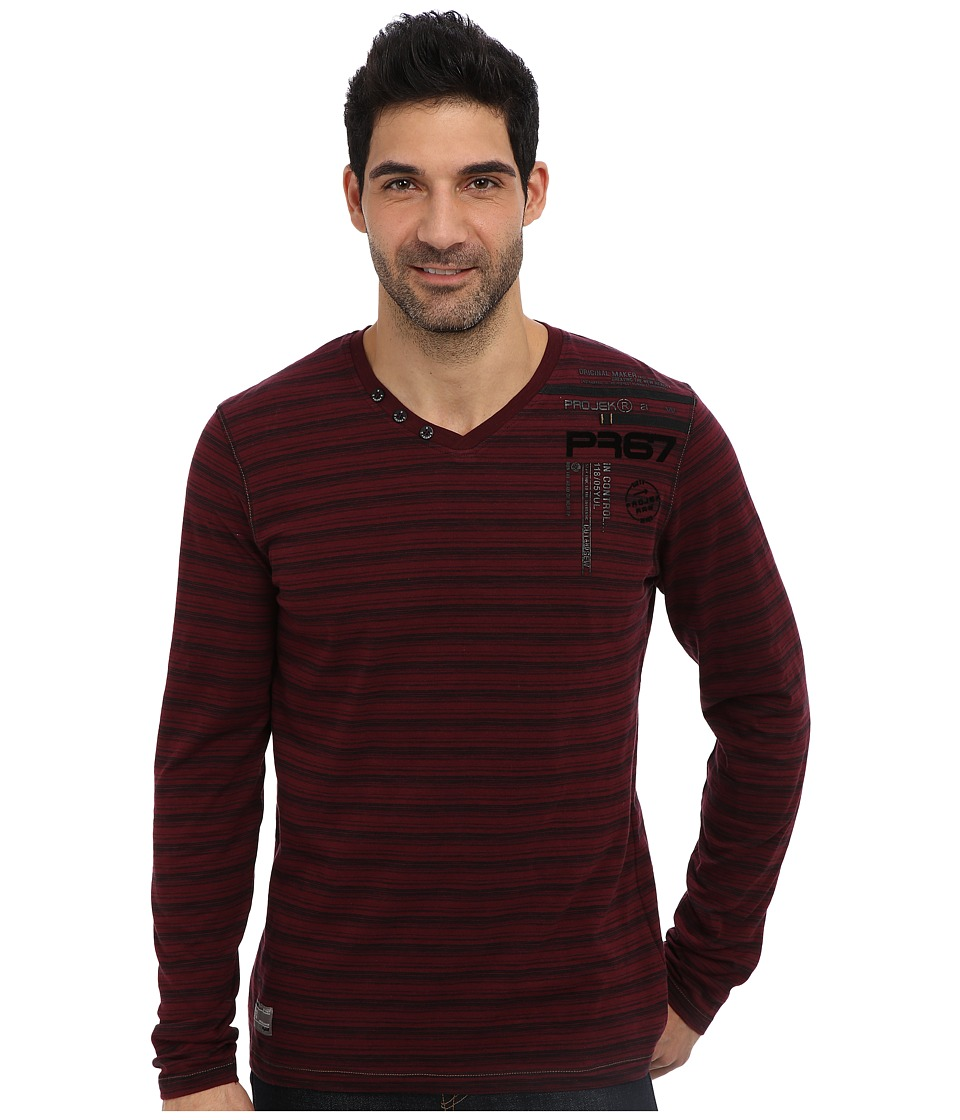 PROJEK RAW - L/S Henley w/ T-Shirt Insert (Burgundy/White) Men's Long Sleeve Pullover
