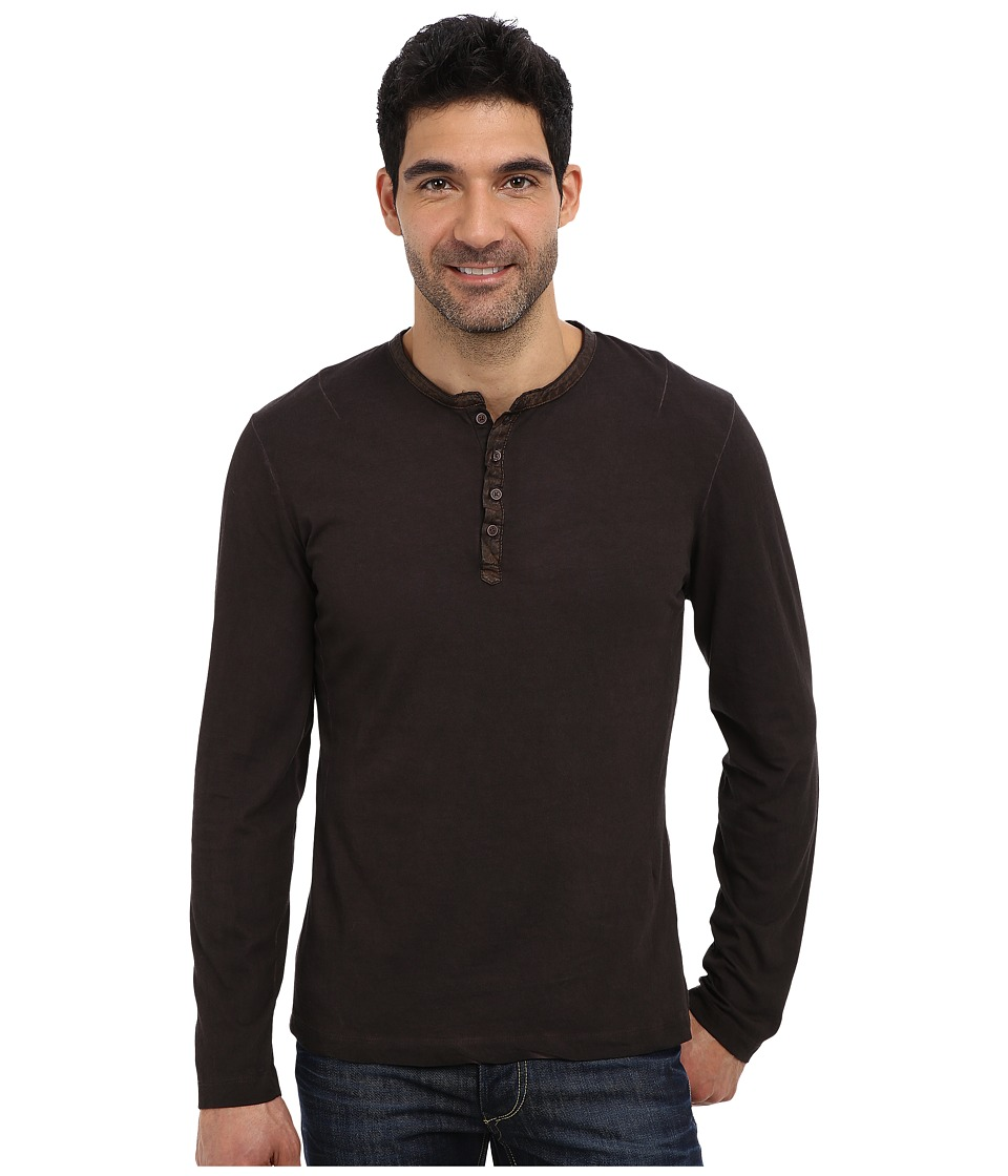 PROJEK RAW - L/S Henley Top (Brown) Men's Long Sleeve Pullover