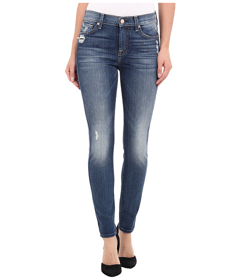 7 For All Mankind - The Ankle Skinny-28 (Knee Hole) in Slim Illusion Aggressive Atlas Blue (Slim Illusion Aggressive Atlas Blue) Women's Jeans