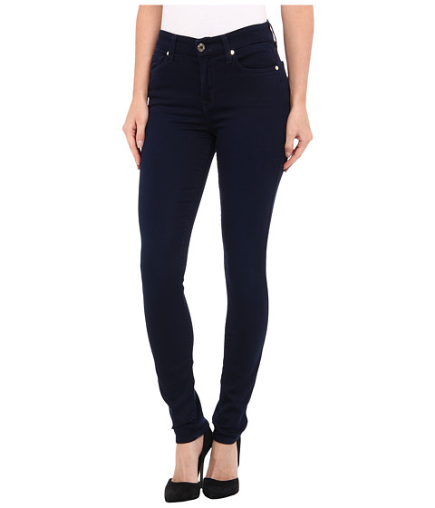 7 For All Mankind - Mid Rise Skinny w/ Contour WB in Midnight Blue Knit Denim (Midnight Blue Knit Denim) Women