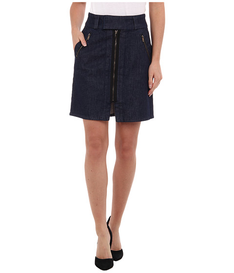 7 For All Mankind - A-Line Skirt w/ Exposed Zips in Pure Dark Rinse (Pure Dark Rinse) Women