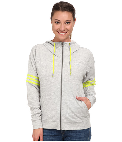 adidas Outdoor - 2Love FZ Hoodie (Medium Grey Heather/Semi Solar Yellow) Women's Sweatshirt