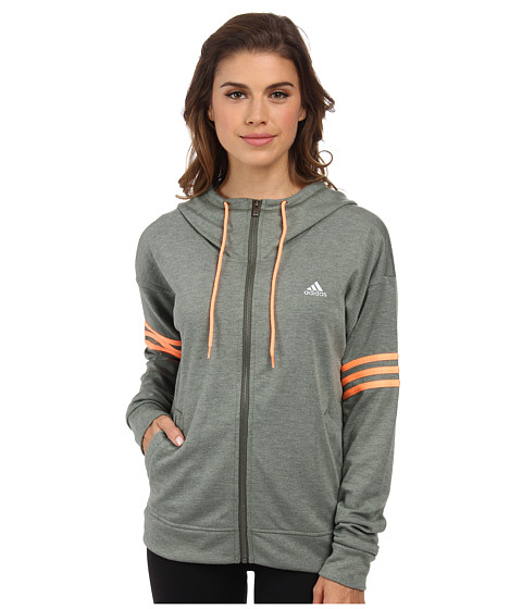 adidas Outdoor - 2Love FZ Hoodie (Base Green/Collegiate Heather/Flash Orange) Women's Sweatshirt
