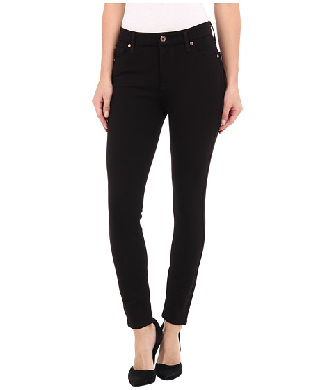 7 For All Mankind - HW Ankle Skinny w/ Contour WB in Slim Illusion Black Double Knit (Slim Illusion Black Double Knit) Women