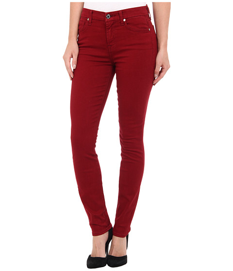 7 For All Mankind - Mid Rise Skinny w/ Contour Waistband in Brushed Sateen (Cranberry) Women's Jeans