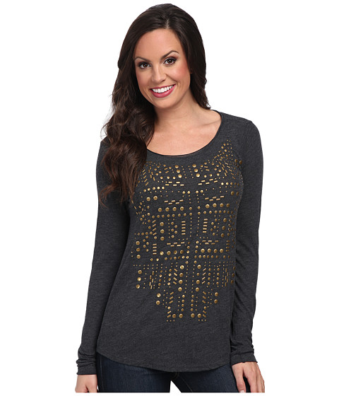 Lucky Brand - Studded Bib Tee (Dark Charcoal) Women's T Shirt