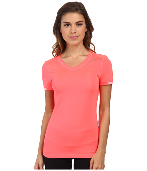 adidas Outdoor - Techfit S/S Shirt (Flash Red/Light Flash Green) Women