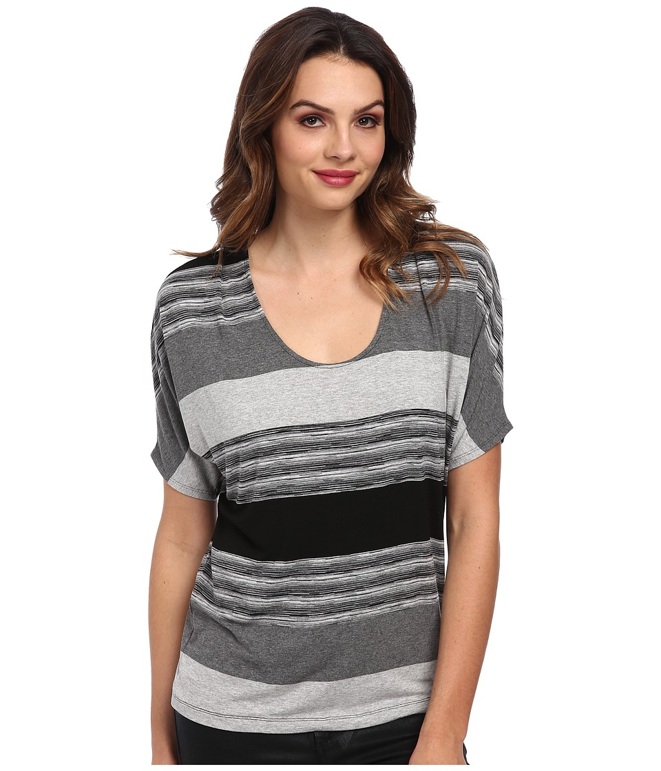Three Dots - Pleated Scoop Neck Top (Charcoal Combo) Women's Clothing