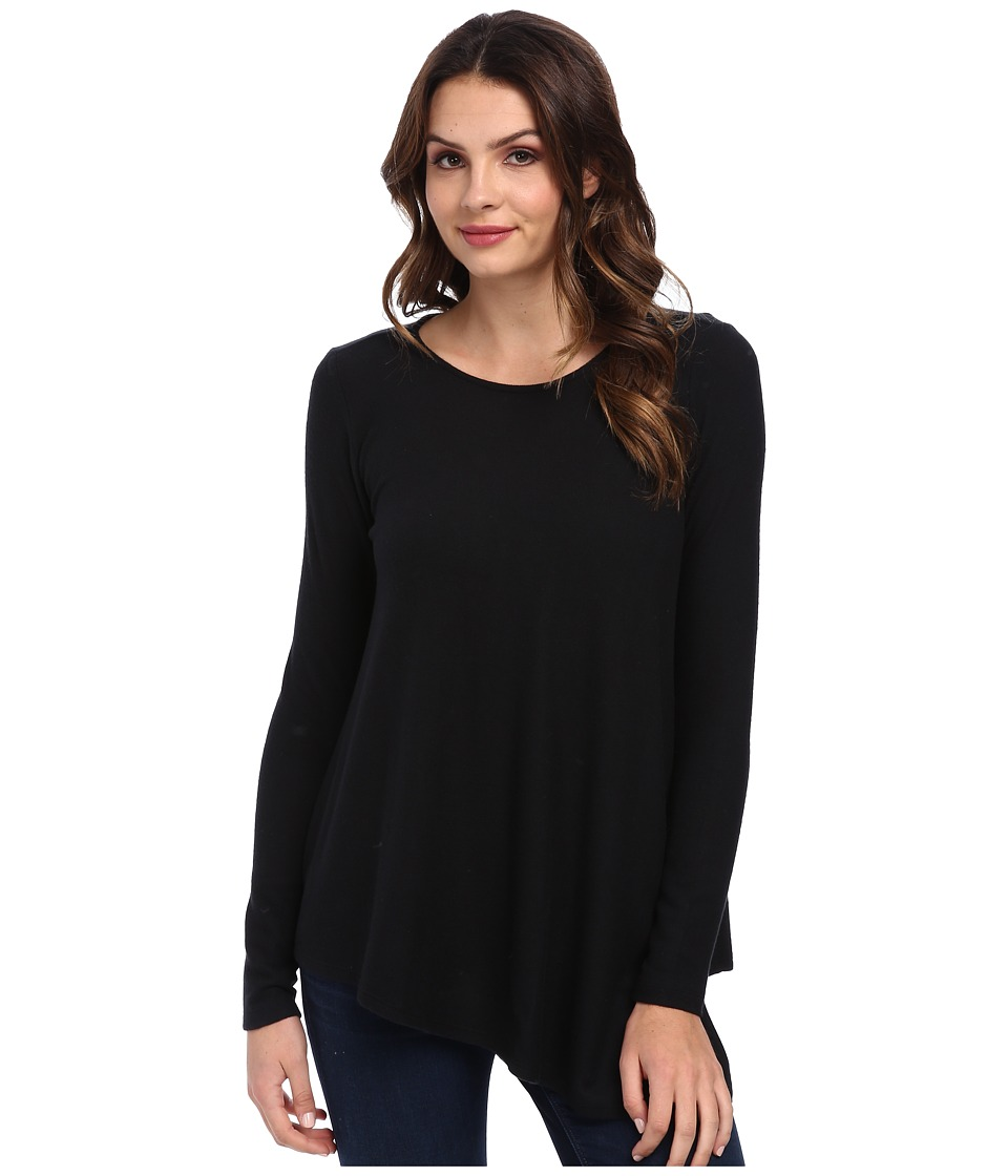 Three Dots - L/S Asymmetrical Top (Black) Women's Long Sleeve Pullover