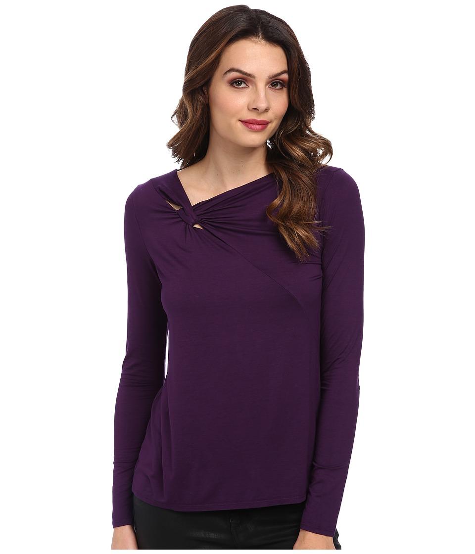 Three Dots - Twist Top (Purple Prism) Women's Clothing