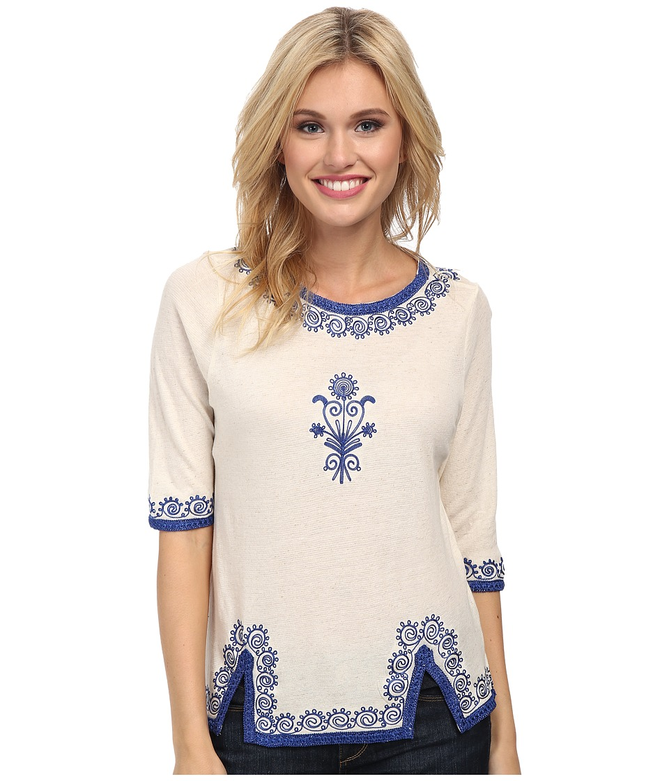 Lucky Brand - Ethnic Trim Tee (Natural) Women