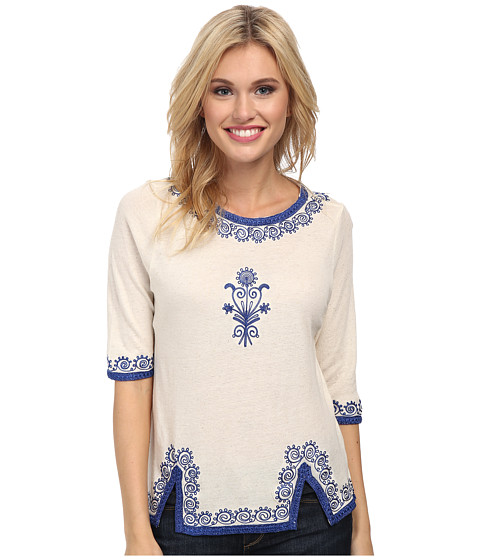 Lucky Brand - Ethnic Trim Tee (Natural) Women's T Shirt