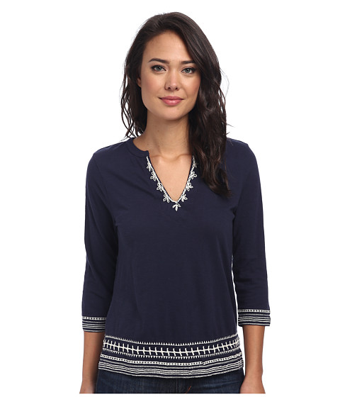 Lucky Brand - Ethnic Soutache Top (American Navy) Women
