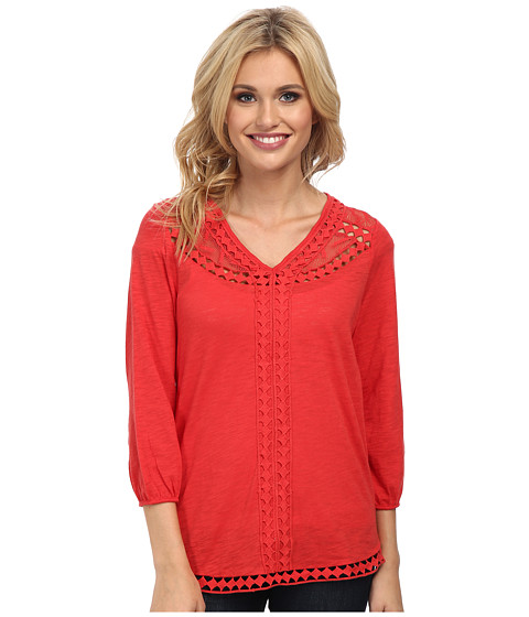Lucky Brand - Diamond Cut Out Top (Aurora Red) Women's Blouse