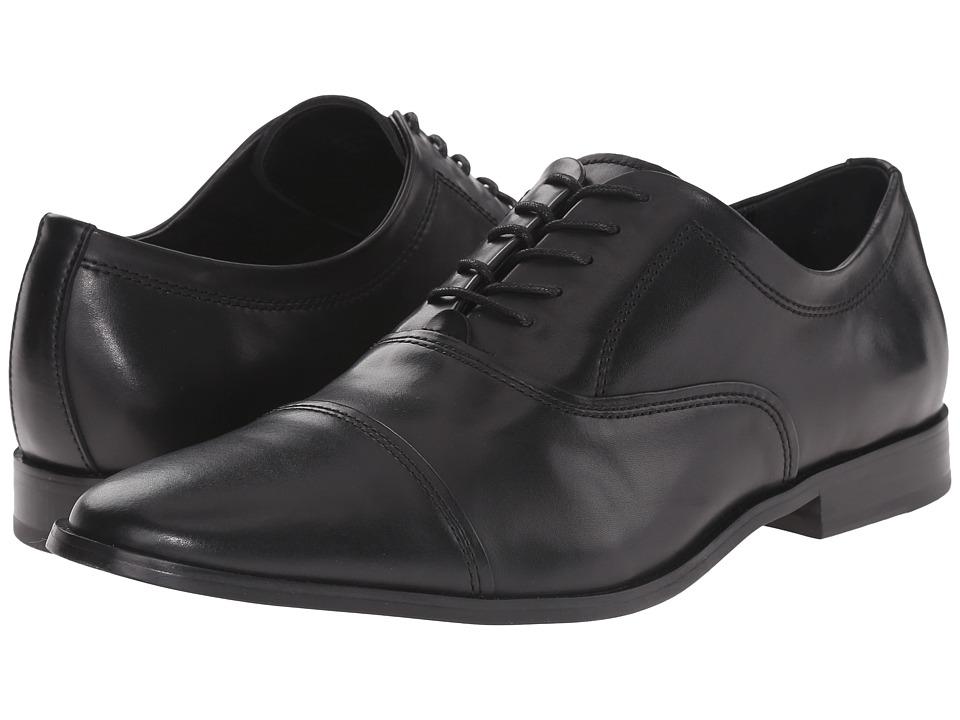 Calvin Klein - Nino (Black Leather) Men's Plain Toe Shoes