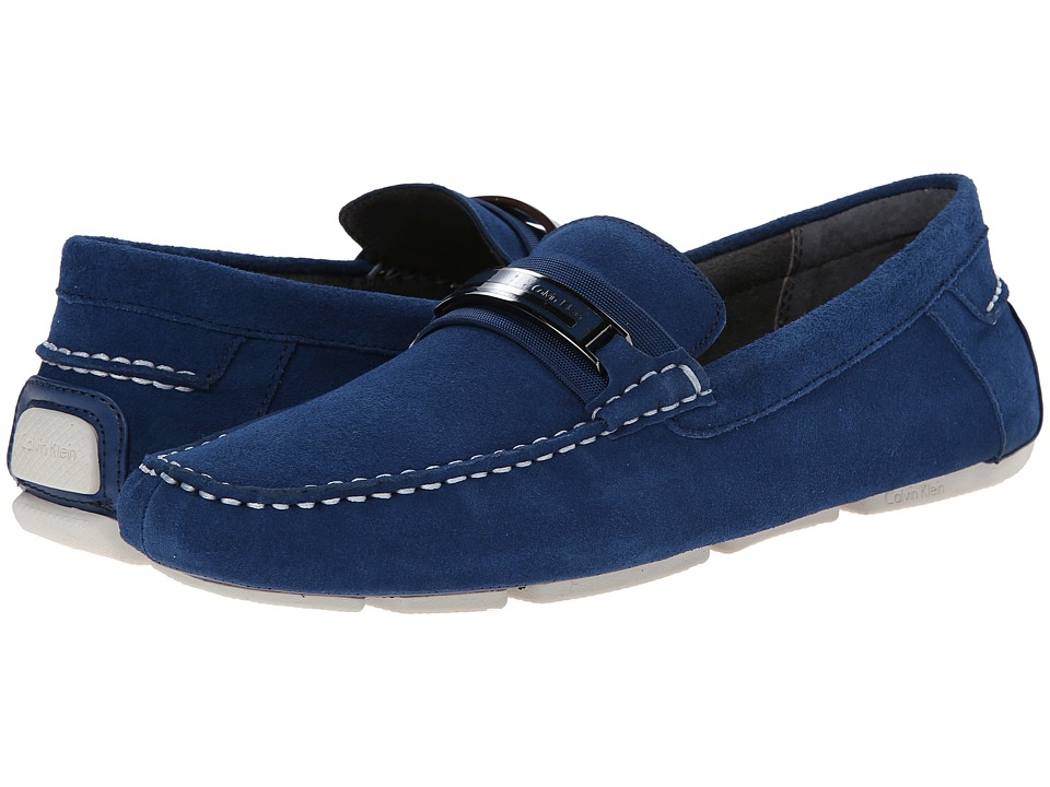 Calvin Klein - Milton (Blue Suede) Men's Slip on Shoes