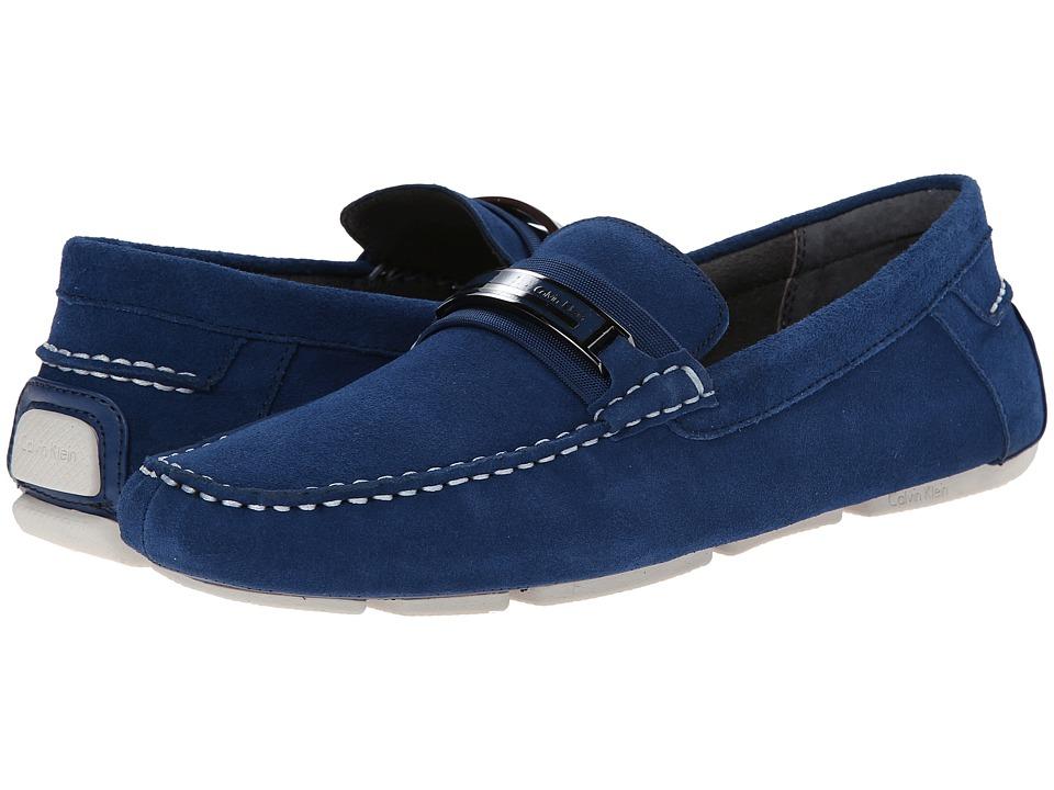 Calvin Klein - Milton (Blue Suede) Men's Slip on Shoes
