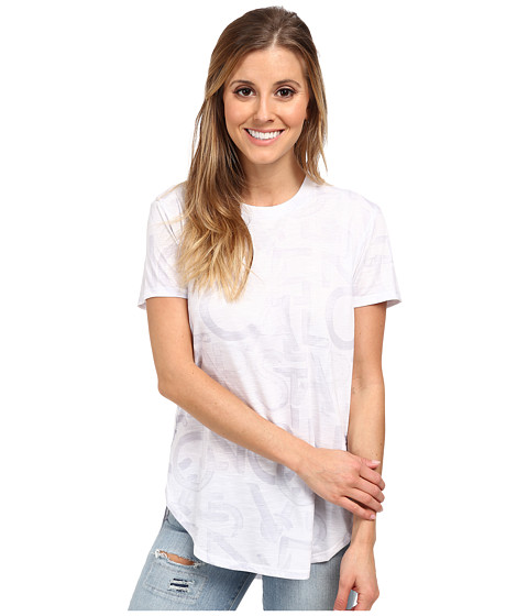 Converse - Printed Converse Curved Hem Top (White) Women's T Shirt