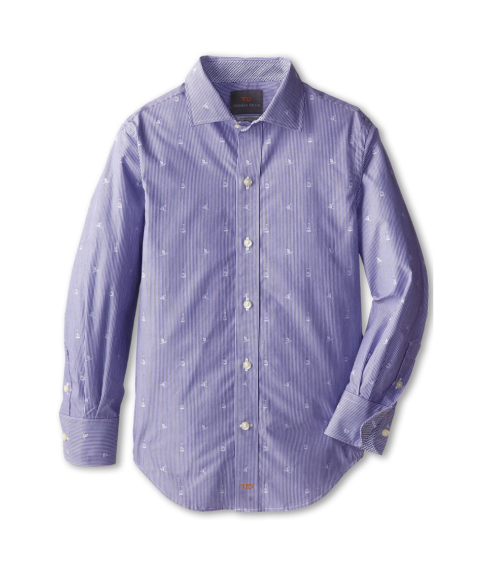 Thomas Dean & Co. Kids - Blue Embroidered Stripe L/S Woven Shirt (Little Kids) (Blue) Boy's Long Sleeve Button Up
