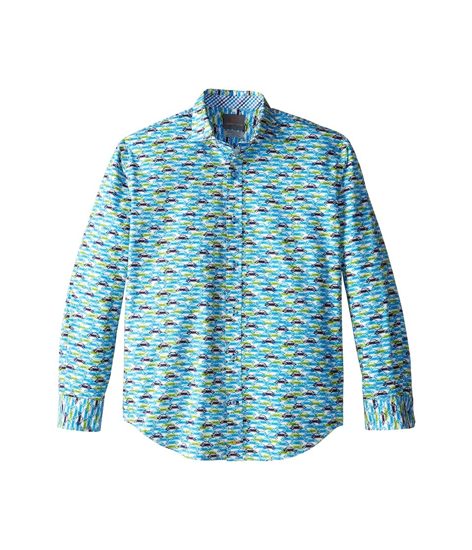 Thomas Dean & Co. Kids - Blue Car Print L/S Woven Shirt (Big Kids) (Blue) Boy's Long Sleeve Button Up