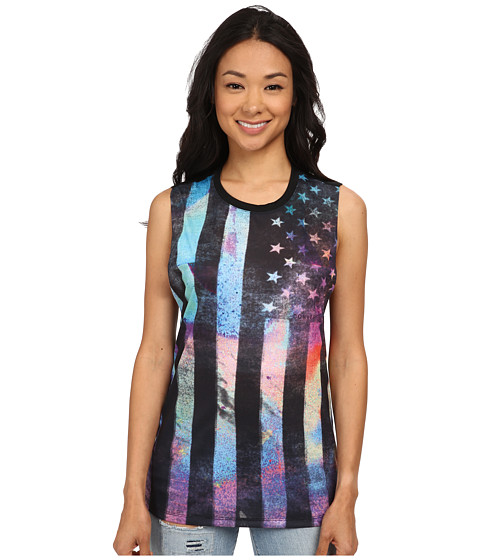 Converse - Sublimation Flag Open Muscle Tee (Black) Women's T Shirt