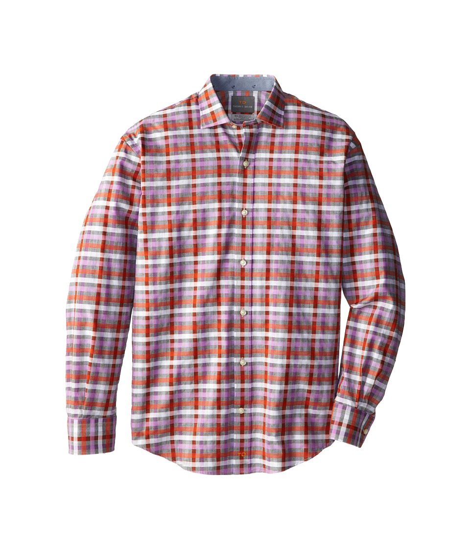 Thomas Dean & Co. Kids - Orange Textured Check L/S Woven Shirt (Big Kids) (Orange) Boy's Long Sleeve Button Up