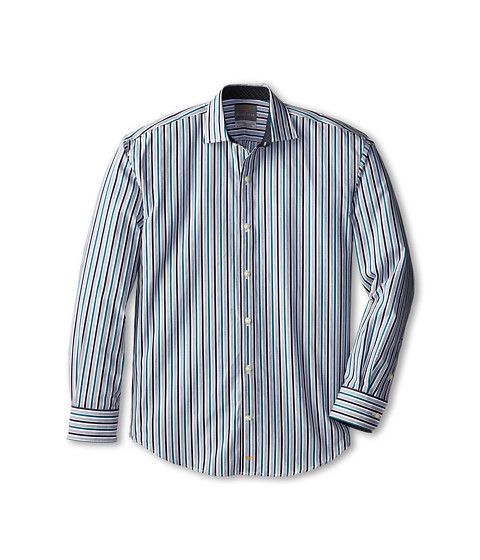 Thomas Dean & Co. Kids - Pine Multi Stripe L/S Woven Shirt (Big Kids) (Pine) Boy's Long Sleeve Button Up