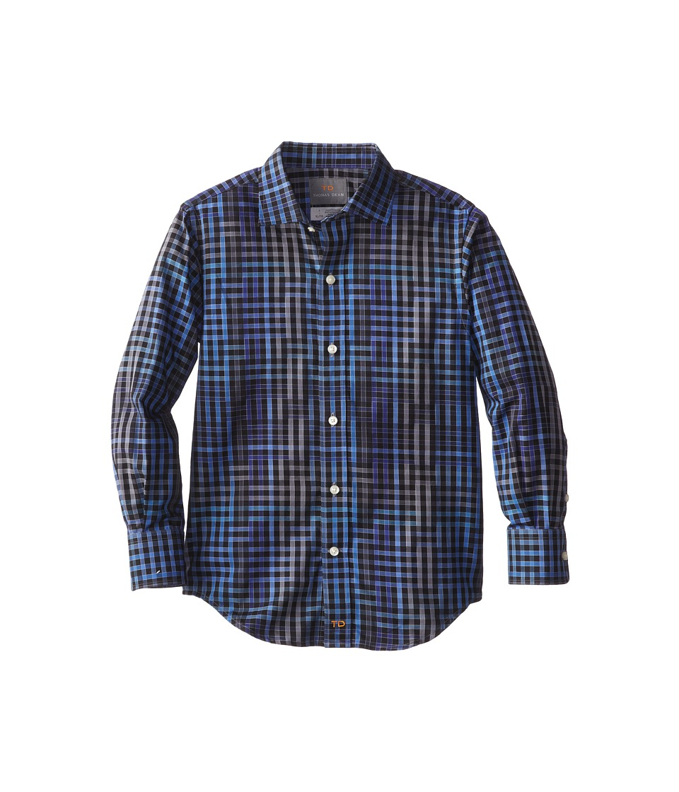 Thomas Dean & Co. Kids - Cobalt Modern Check L/S Woven Shirt (Little Kids) (Cobalt) Boy's Long Sleeve Button Up