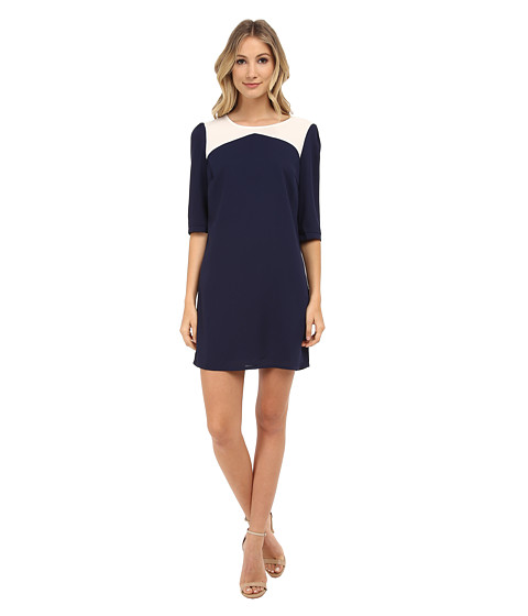 Brigitte Bailey - Becky Color Block Shift Dress (Navy/Cream) Women's Dress