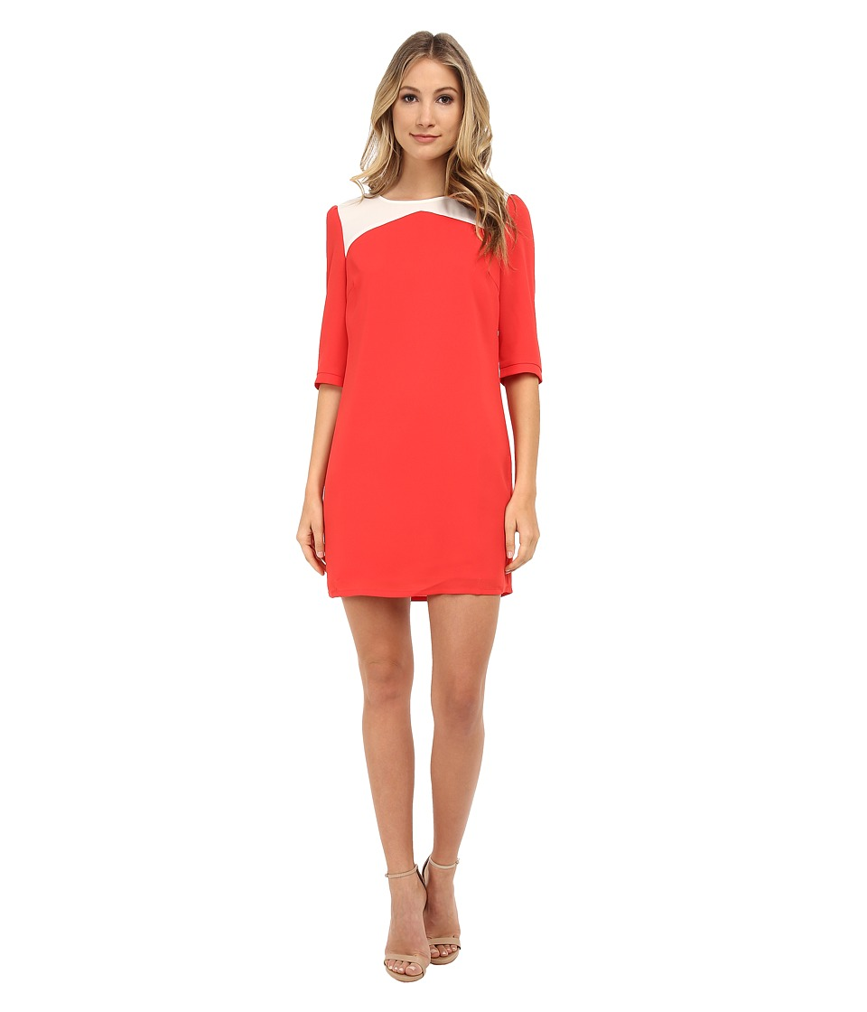 Brigitte Bailey - Becky Color Block Shift Dress (Red/Cream) Women's Dress