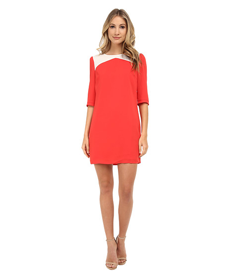 Brigitte Bailey - Becky Color Block Shift Dress (Red/Cream) Women