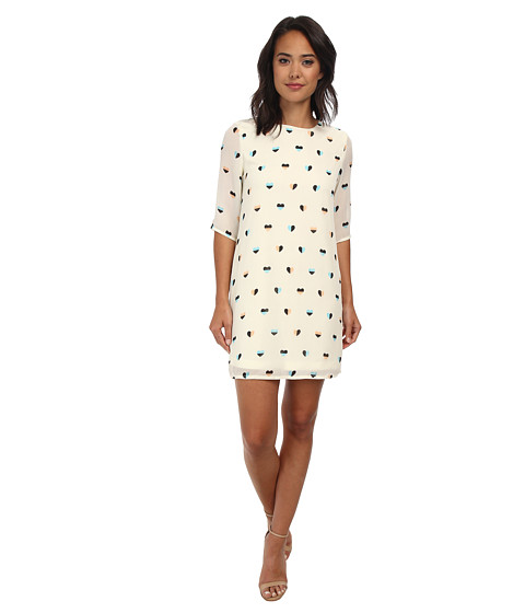 Brigitte Bailey - Lola Shift Dress (Cream Half Heart) Women's Dress