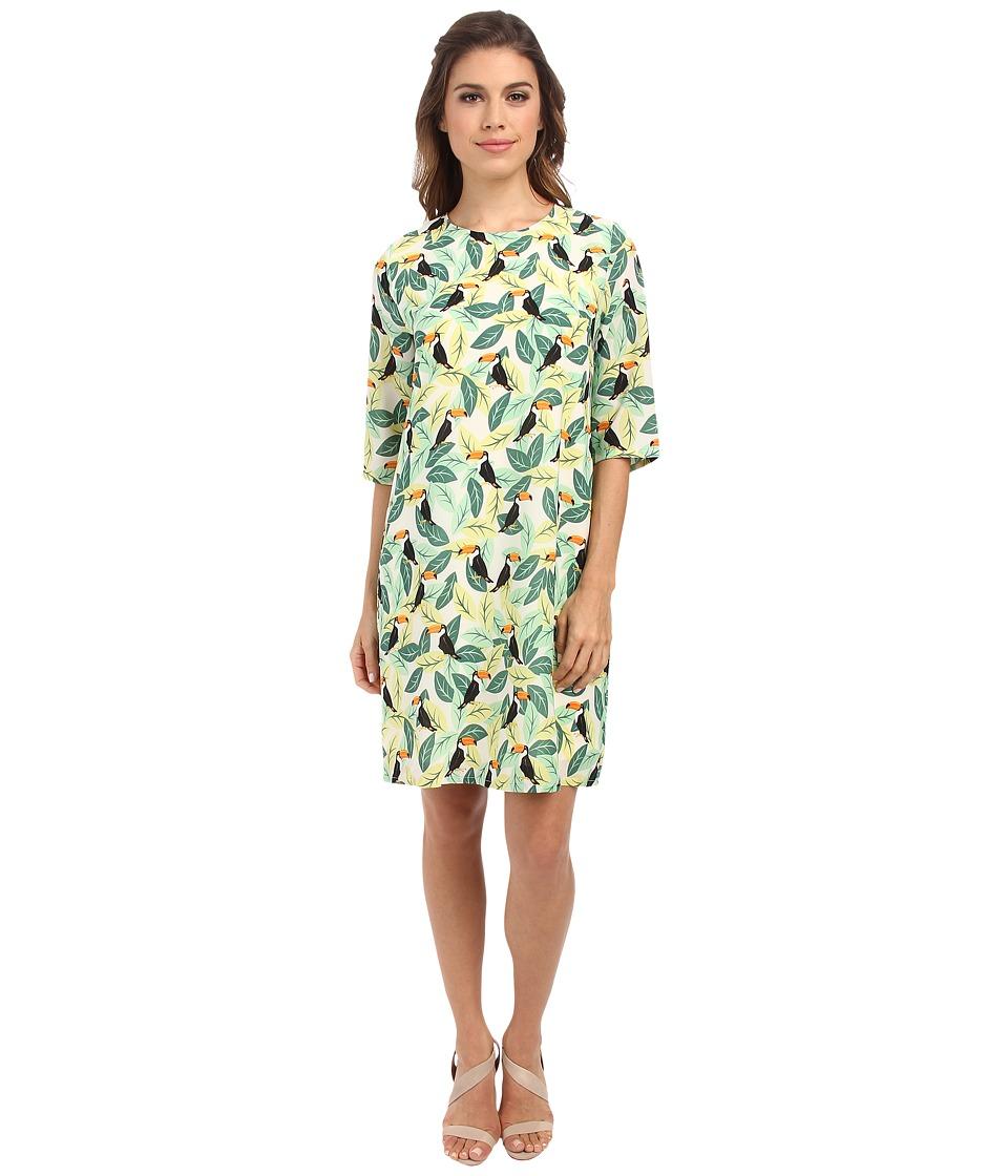 Brigitte Bailey - Lola Shift Dress (Green Toucan Leaves) Women