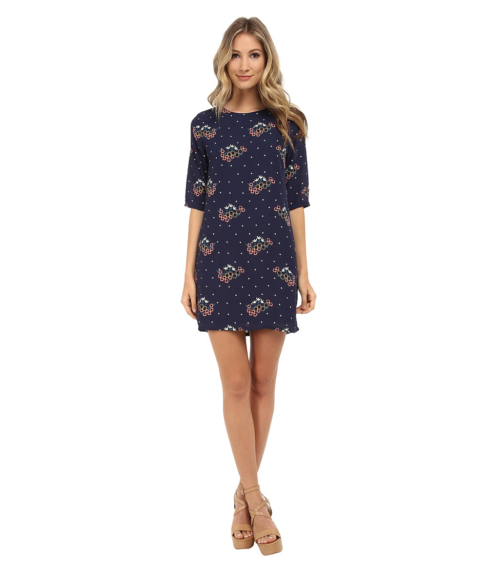 Brigitte Bailey - Lola Shift Dress (Navy Summer Flowers) Women's Dress